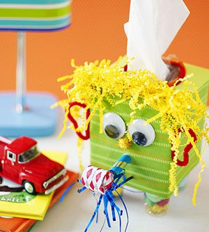 This dressed-up tissue box helps teach your child to blow his nose. A great DIY craft!