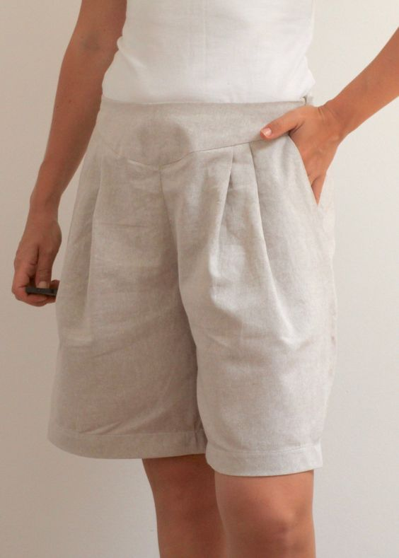 Women's wide linen shorts by chubbyABC on Etsy