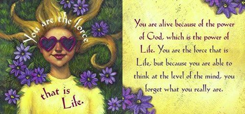 You are the force that is Life. You are alive because of the power of God, which is the power of Life. You are the force that is Life, but because you are able to think at the level of the mind, you forget what you really are.~ don Miguel Ruiz
