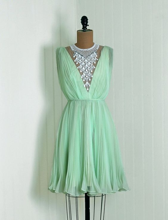1960's Vintage Mint-Green Rhinestone Beaded Heavily-Pleated Sheer Chiffon-Couture Sleeveless Low-Plunge Illusion Nipped-Waist Hourglass Grecian-Goddess Bombshell Mini Swing-Skirt Mod Femme-Fatale Formal Wedding Evening Cocktail Party Dress