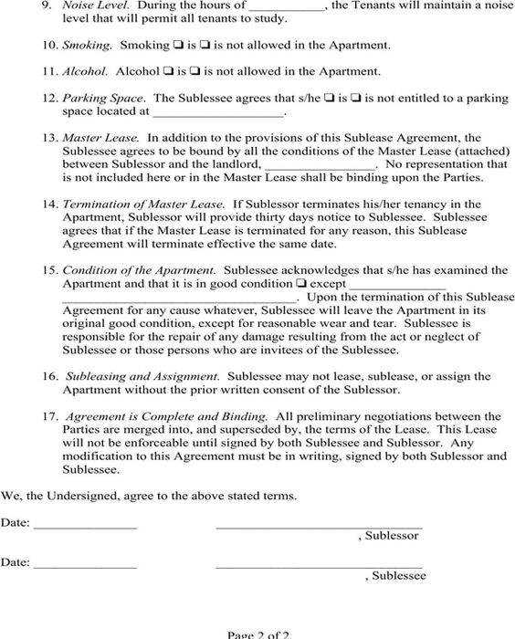 Sublease Agreement Page 2 Lease agreement Pinterest Money - sublease agreement