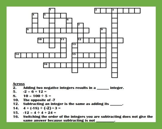 Integer Concepts Crossword Puzzle Ii Integers Negative Integers