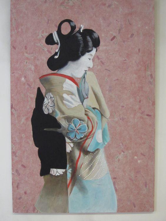 """geisha 2"" acrylique sur bois"