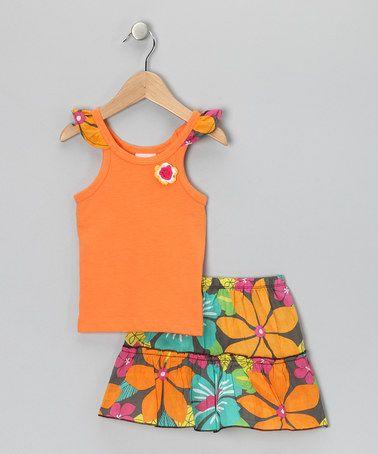 Look at this #zulilyfind! Orange Floral Flutter Tank & Skirt - Infant #zulilyfinds