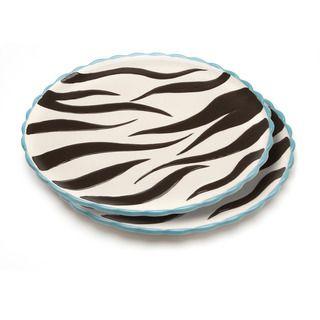 Blue Brûlée Pizza/Cake Platter in Swirl Pattern by La Cote (Set of 2)