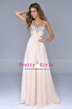 2014 Petite Size Prom Dresses Straps Floor Length A Line Zipper Up Sleeveless Chiffon With Rhinestones