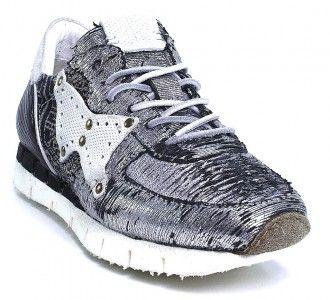A.S. 98 Sneaker silber metallic geriffelt Keil