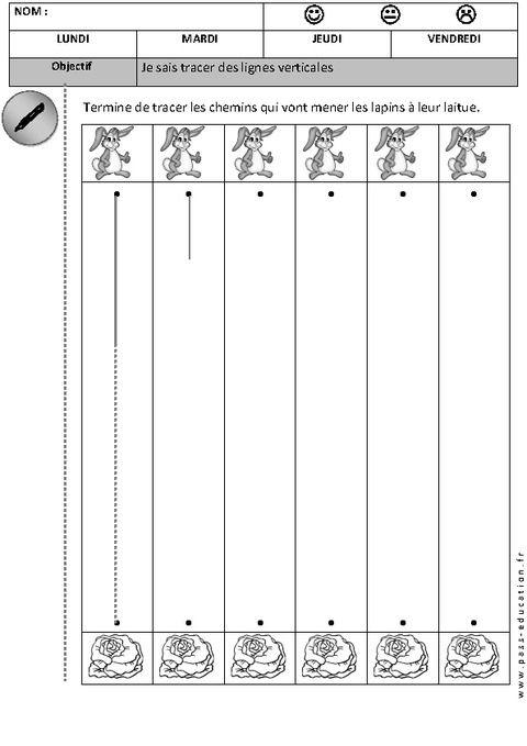 Horizontal - Vertical -Tracer des lignes - Graphisme – Maternelle – Petite…