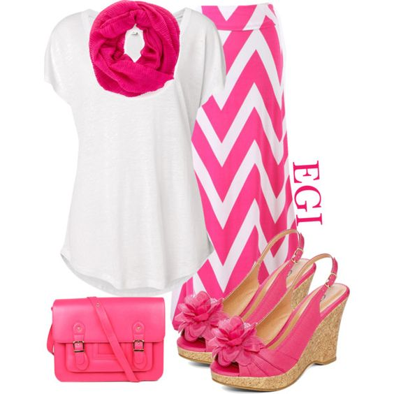 """Pink Chevron Skirt..."" by isongirls on Polyvore"