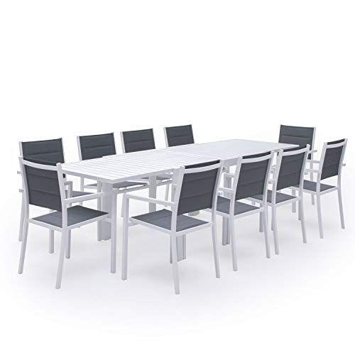 Salon De Jardin Venezia Extensible En Textilene Gris 10 Places Aluminium Blanc Table Extensible Table Et Chaises De Jardin Salon De Jardin