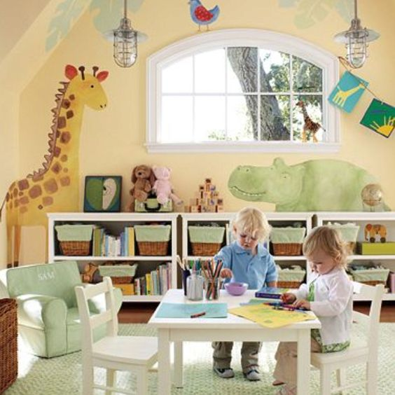Home Daycare Design Ideas: Wooden Containers, Neutral Walls