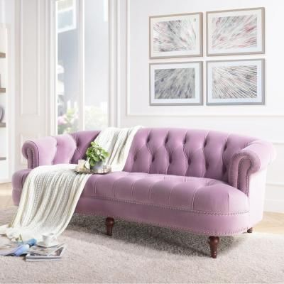 Jennifer Taylor La Rosa 85 In Lavender Velvet 3 Seater Chesterfield Sofa With Nailheads 2525 3 952 The Home Depot In 2021 Purple Living Room Furniture Couches Living Room