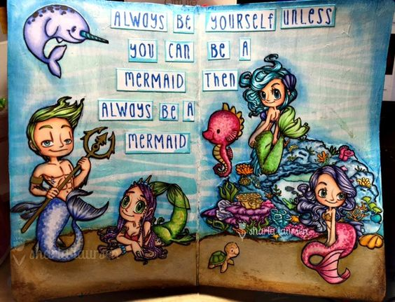 Art Journal page using Some Odd Girl images. #sog #mermaids: