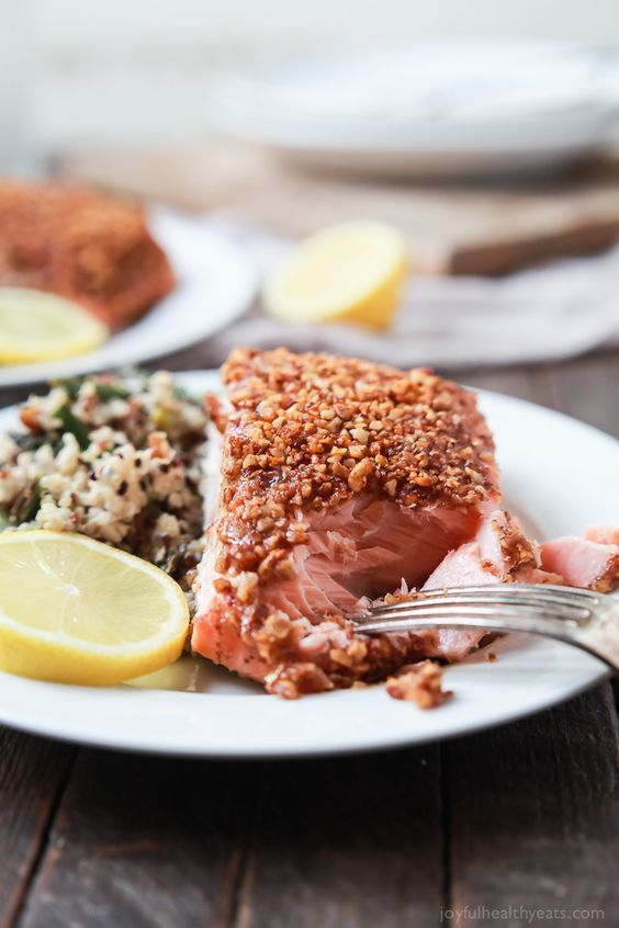 Impress your family or dinner guests with this easy Honey Mustard Pecan Crusted Salmon recipe. All you'll need is 5 ingredients and 15 minutes to make this dynamite meal! Dinner just got easier! | joyfulhealthyeats.com #paleo #glutenfree: