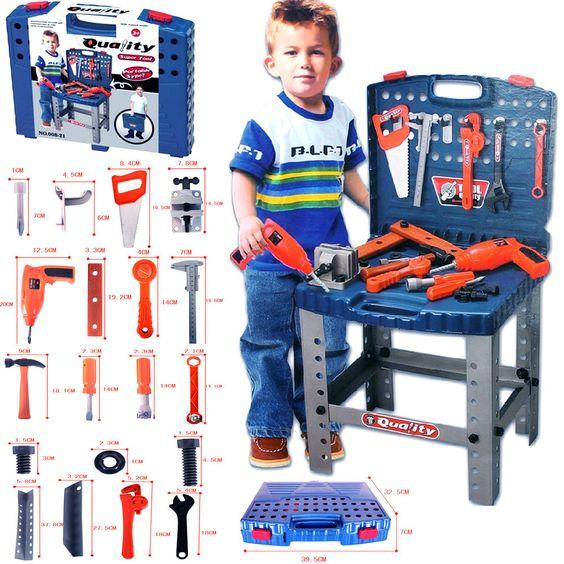 69pc Kids Work Bench Tool Box Kit Construction Set Toy DIY Drill Pretend Playset