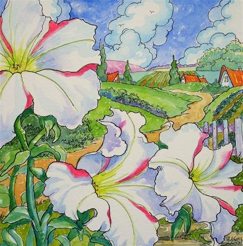 """Storybook Cottage Series Front Porch Petunias"" - Original Fine Art for Sale - © Alida Akers"