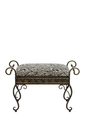 Zebra Scrolled Metal bench- perfect for my walk in closet
