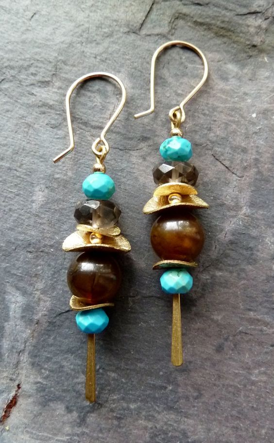 Multi Stone Stick Dangle Earrings. $34.00, via Etsy.