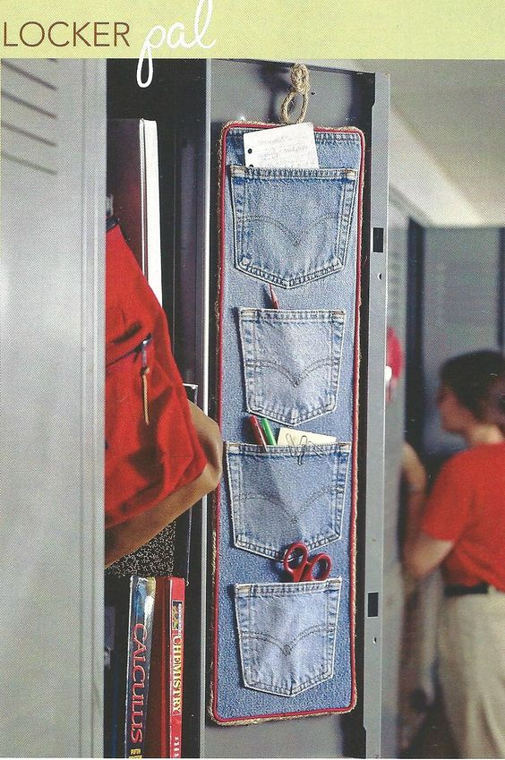 Cool idea for old jeans.  Add extra jean pockets and adhere to foam board.