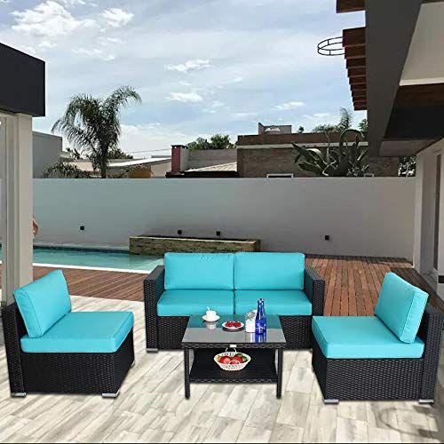 Leaptime Patio Rattan Sofa 5-PCS Outdoor Furniture Garden ...