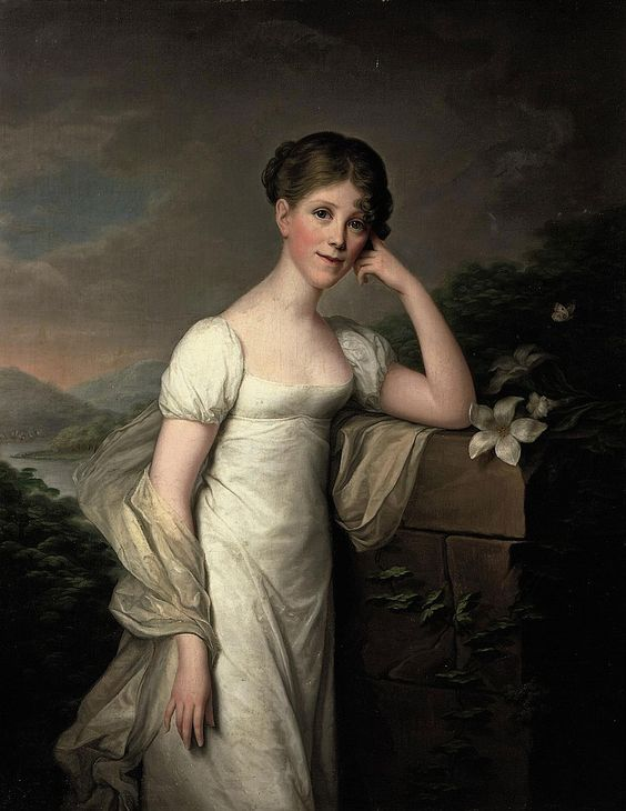 Friedrich Carl Gröger (Plön 1766-1838 Hamburg) Portrait of Sophie Caroline von Berger, nee Gräfin Krag-Juel-Vind-Fries, three-quarter-length, in a white dress and a silk wrap, standing in a landscape, leaning on a pedestal with lilies signed and dated 'Groger pinx 1809' (lower right) oil on canvas 123.3 x 96.5 cm.