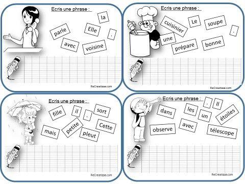 Des cartes pour écrire des phrases