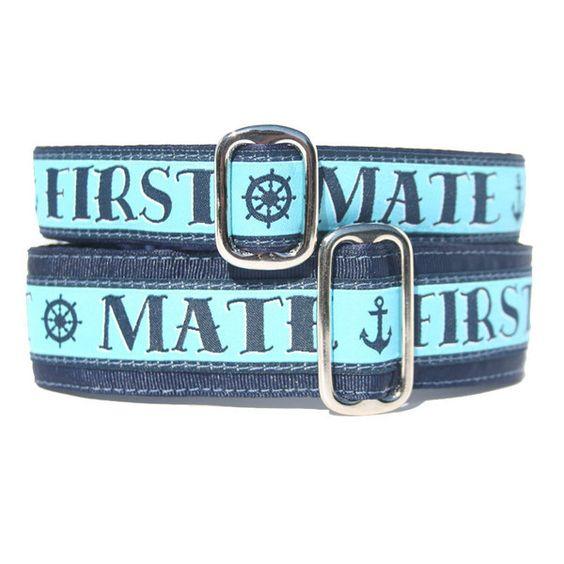 First Mate Dog Collar - Exclusive Design! | Classic Hound Collar Co. #dogcollar #handcrafted #handmade #madeinUSA #madeinamerica #nautical #ocean #seaside #navy #blue #sailor