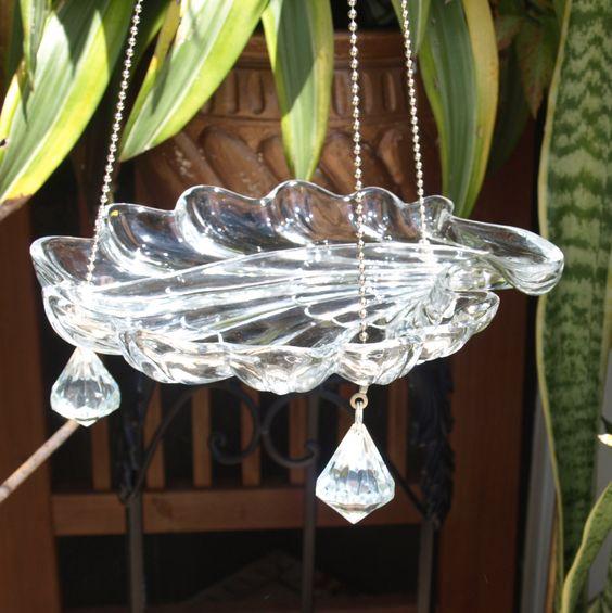 Vintage Scalloped Hanging Bird Feeder Glass by ARTfulSalvage, $30.00