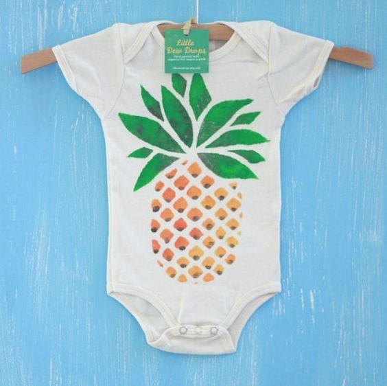 pineapple, organic hand painted baby onesie