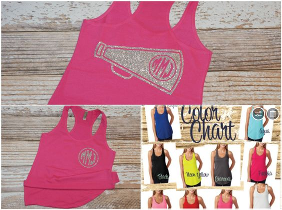Cheer tank top. Cheerleading tank. Cheerleading shirt. Monogram Cheer shirt. Monogrammed cheer tank top. Cheer Team Shirts. by owltheshirtsyouneed on Etsy https://www.etsy.com/listing/237576622/cheer-tank-top-cheerleading-tank