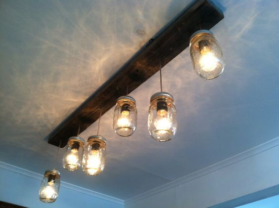 Mason Jar and Reclaimed Wood Track Lighting by LengaresDesign, to hang over the kitchen island