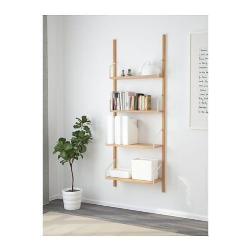 SVALNÄS Wall mounted shelf combination, bamboo bamboo 26x9 7
