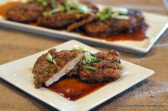 Crispy buttermilk Pork Chops with Sweet Soy Apricot Sauce' Southern ...
