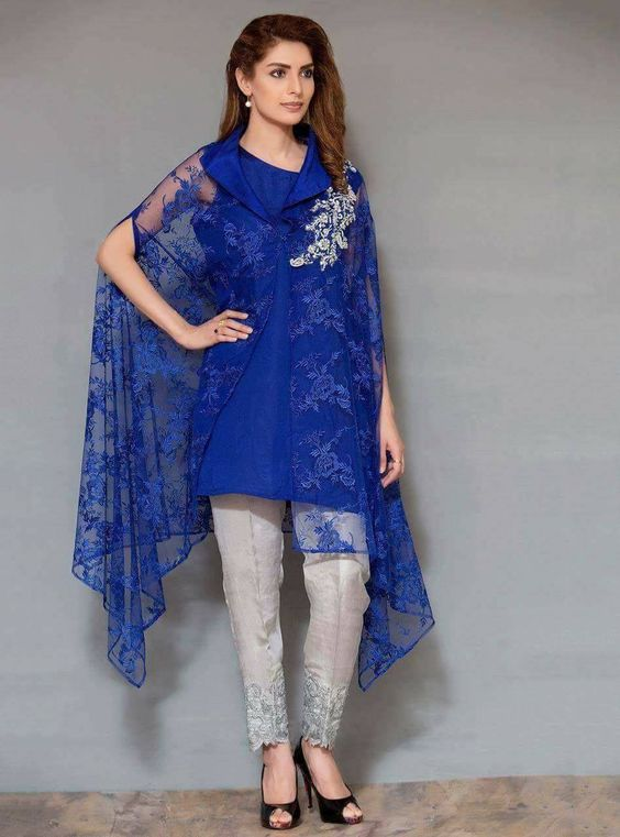 Stitching Styles Of Pakistani Dresses Regal Blue Cape Style
