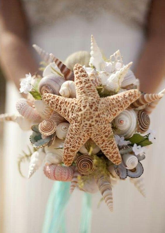 ideas para una boda en la playa ramo de flores estrella de mar
