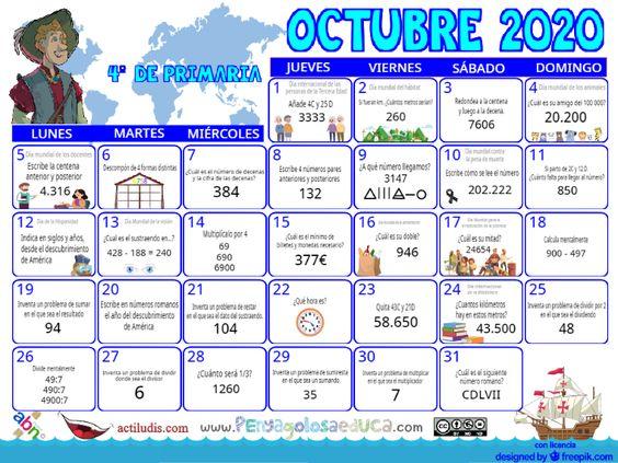 Calendario Cuarto ABN – Octubre 2020