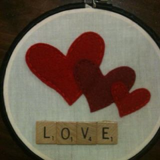 Hoop Art - hearts with scrabble letters