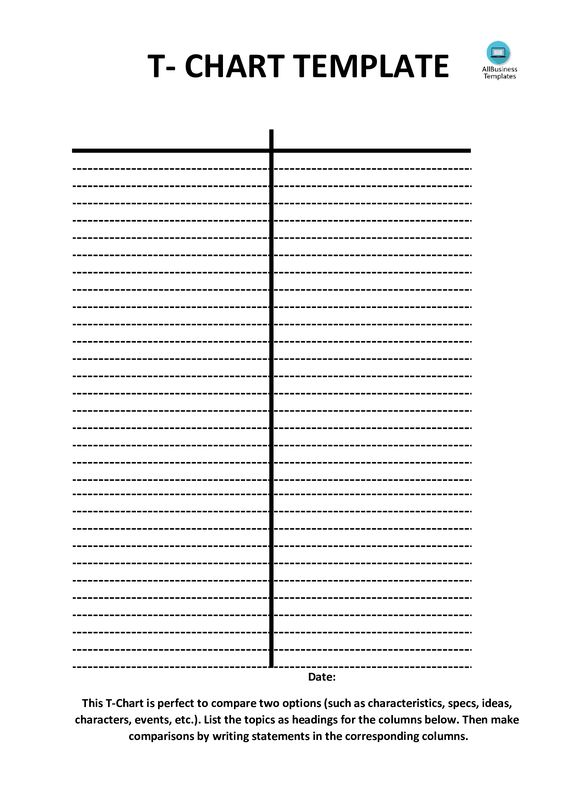 T Chart Template Vertically Positioned  Do You Need A T Chart