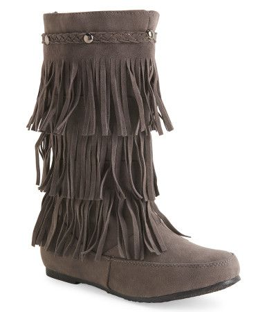 faux suede fringe boot