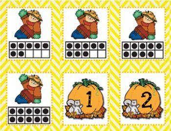 FREE!!!! Scarecrow Ten Frame Matching Game (1-10)