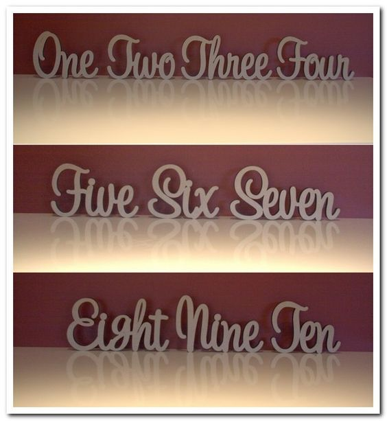 Decoroo Australia, custom made wooden words, names, letters and signs. - Wooden freestanding table numbers written in words, $70.00 (http://www.decoroo.com.au/wooden-freestanding-table-numbers-written-in-words/)