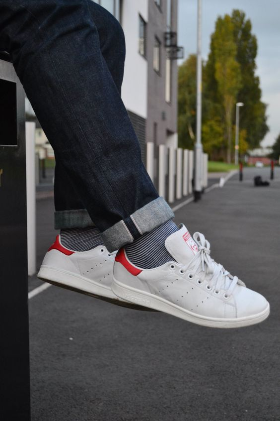 Adidas Stan Smith Red On Feet