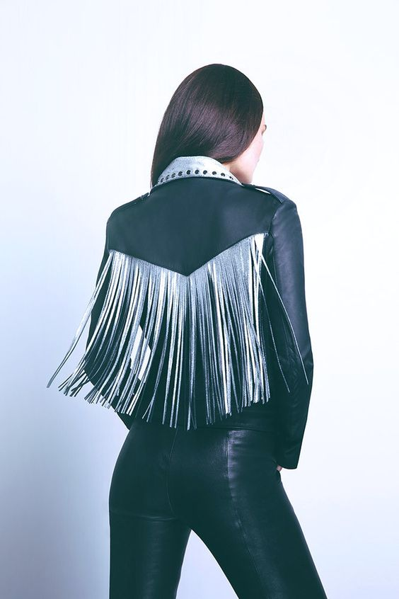 A bold twist on the biker with our dearest accessory — fringe. Created to make a clear statement, while crafted from the most supple and sophisticated leathers and adorned with surreptitious details.