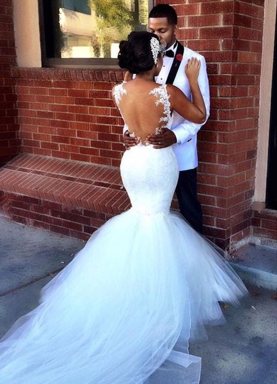 2018 Wedding Hairstyle Ideas For Black Women Sheer Wedding Dress
