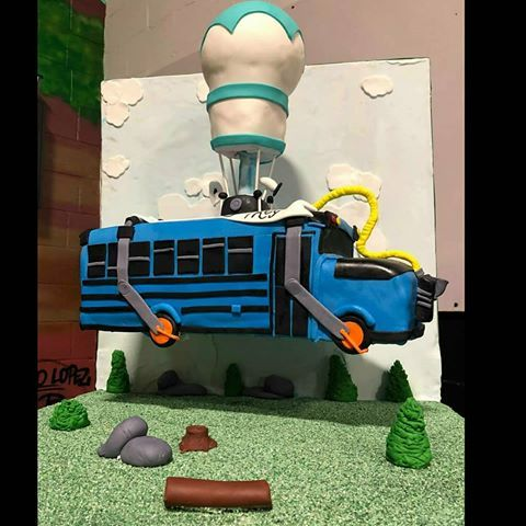 Floating Fortnite Battle Bus Cake With Images Birthday Party