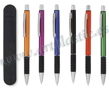 Bolígrafos metálicos personalizados.