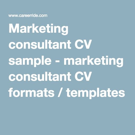 Cv format, Marketing consultant and Marketing on Pinterest - marketing consultant resume