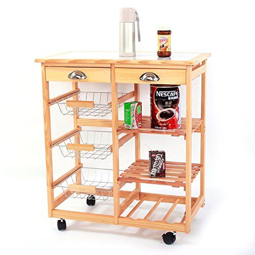 Chocity Storage Cart Kitchen Dining Room Cart 2 Drawer Removable Storage Rack With Rolling Wheels Wood Col Kitchen Cart Kitchen Roll Kitchen Storage Shelves