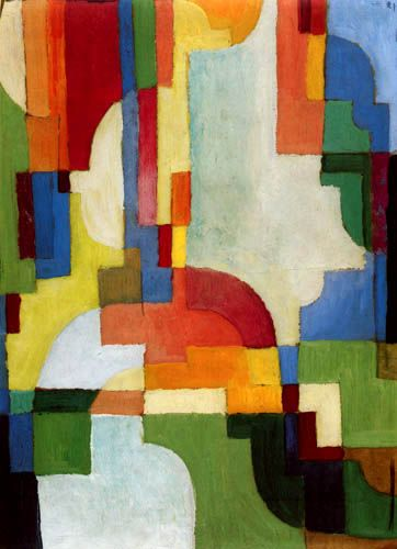 Colored forms I. August Macke's meeting with Robert Delaunay in 1912 was to be a sort of revelation for him. Delaunay's chromatic Cubism, called Orphism, influenced his art from that point onwards.