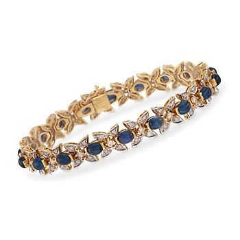 "Ross-Simons - C. 1980 Vintage 10.30 ct. t.w. Sapphire and 1.70 ct. t.w. Diamond Bracelet in 18kt Yellow Gold. 7"" - #817281"